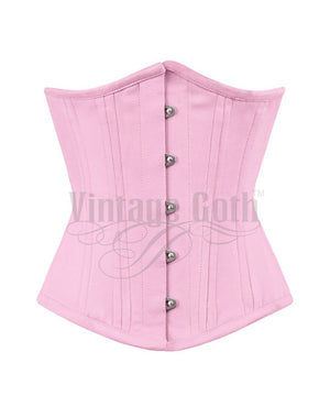 Cerise Cotton Steel Boned Corsets Waist Training
