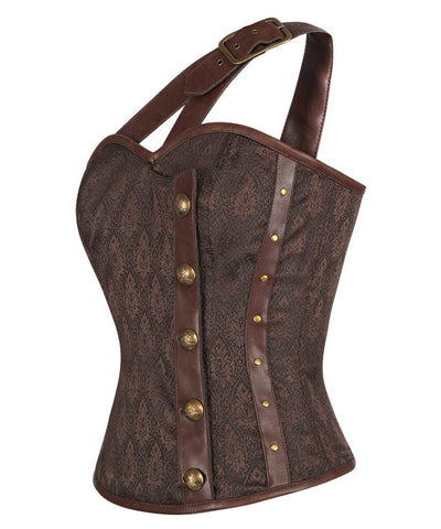 Ahern Steampunk Brown Corset Top with Single Strap