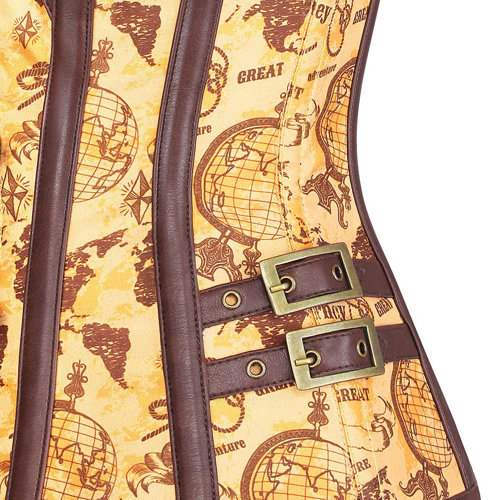 Filips Steampunk Vintage Globe Print Overbust Corset
