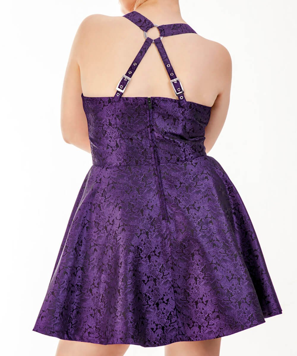 Herod Purple Halter Neck Skater Dress