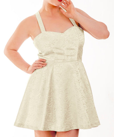 Adken Ivory Skater Dress in Brocade