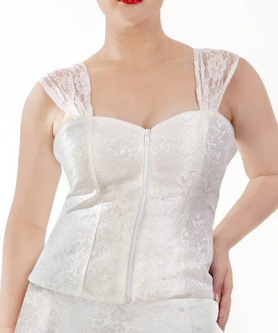 Mania Brocade White Corset Top