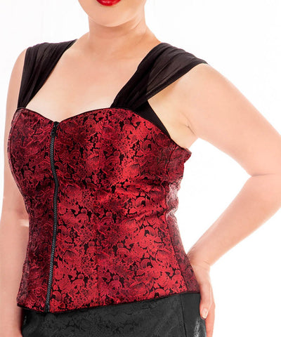 Hewlitt Brocade Gothic Top With Shoulder Straps
