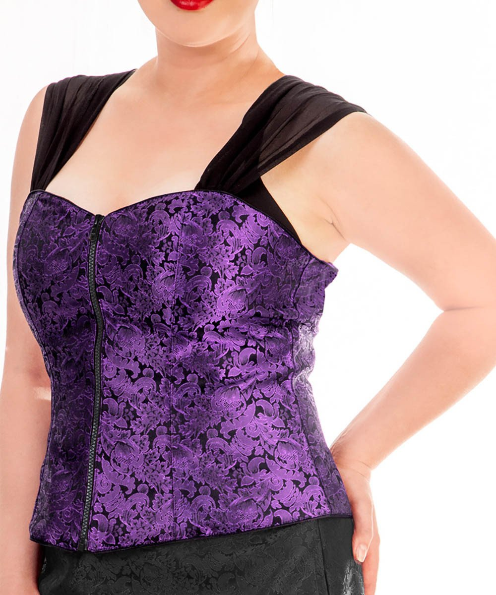 Hillock Purple Brocade Gothic Corset Top