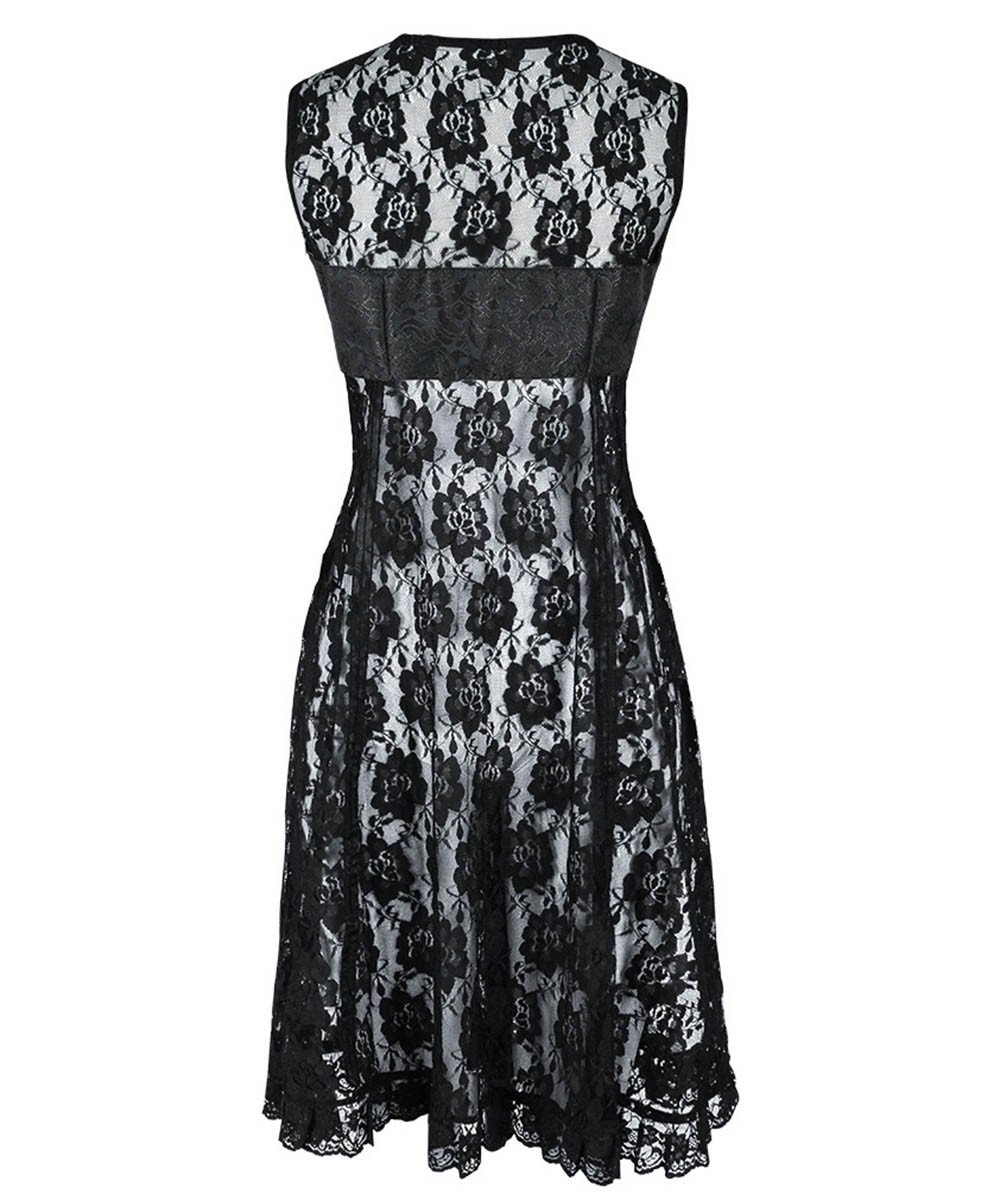 Peredur Gothic Black Lace Dual Top & Dress
