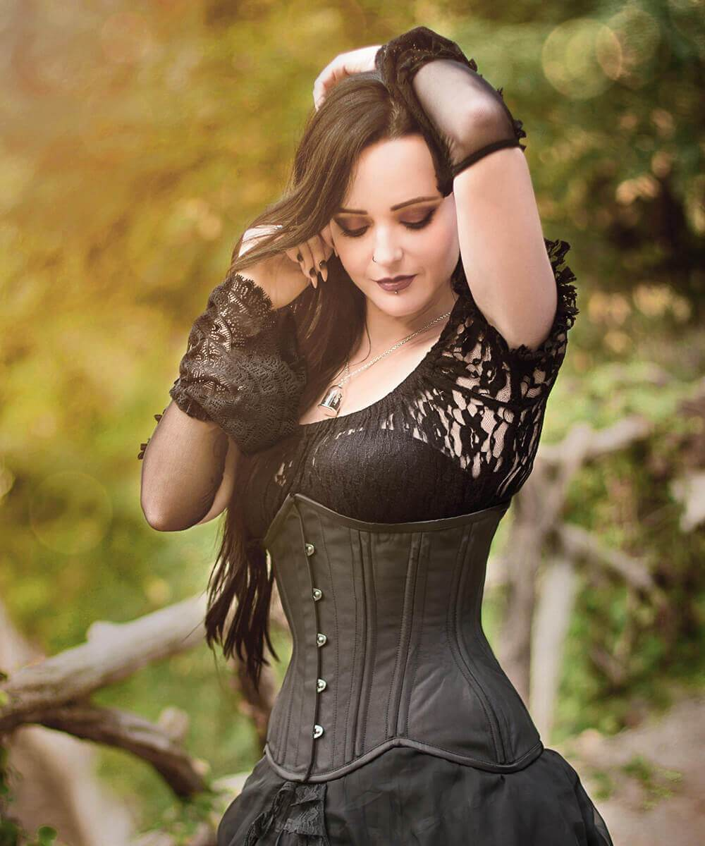 Peirce Black Taffeta Curvy Waist Training Corset