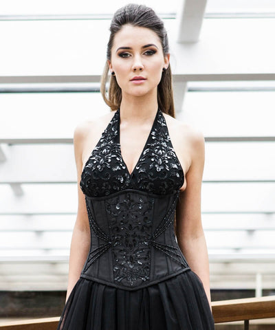 Capek Embroidered Underbust Couture Corset in Taffeta