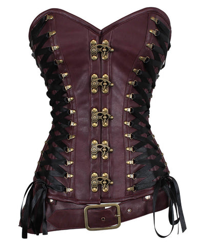 Leotie Criss Cross Steampunk Overbust Corset with Detachable Belt