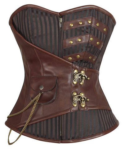 Nesha Steampunk Overbust Corset with Hanging Chain