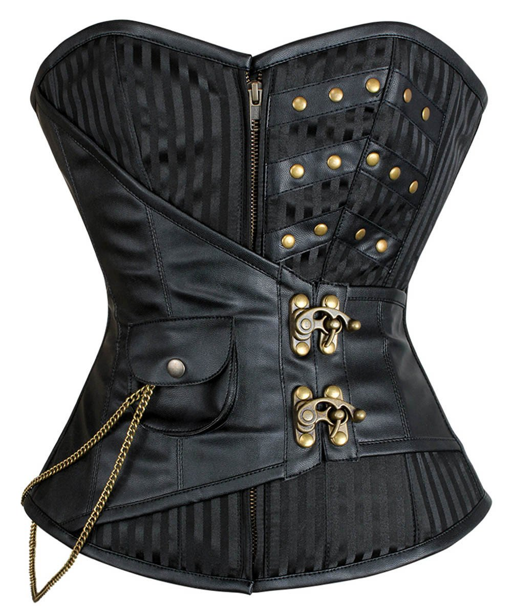 Damina Gothic Overbust Corset with Hanging Chain