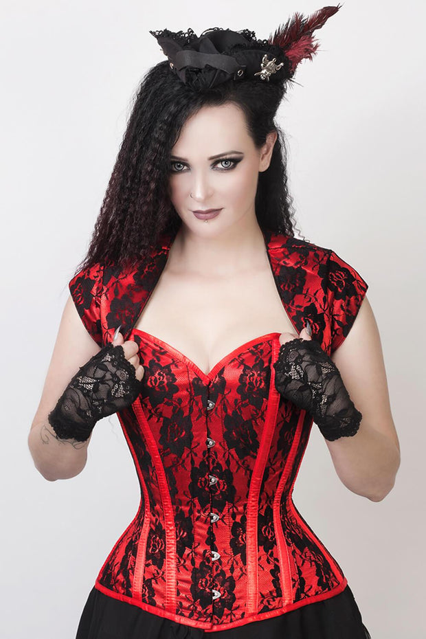 Red Satin Corset, Overbust Corset, Corset With Bolero