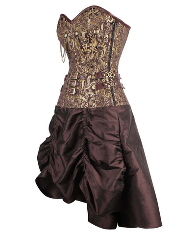 Ailill Steampunk Gold Corset Dress