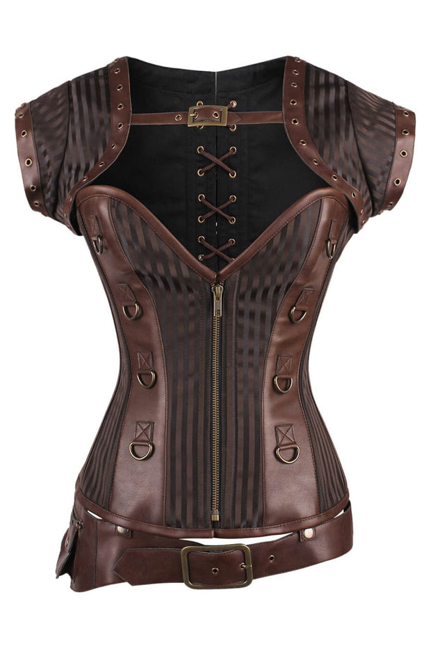 Adoria Steampunk Overbust Brown Corset with Detachable Belt