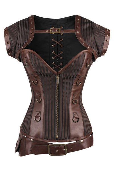 Adoria Custom Made Steampunk Overbust Brown Corset with Detachable Belt