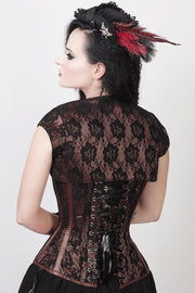 Brown Satin Corset, Overbust Corset, Corset With Bolero