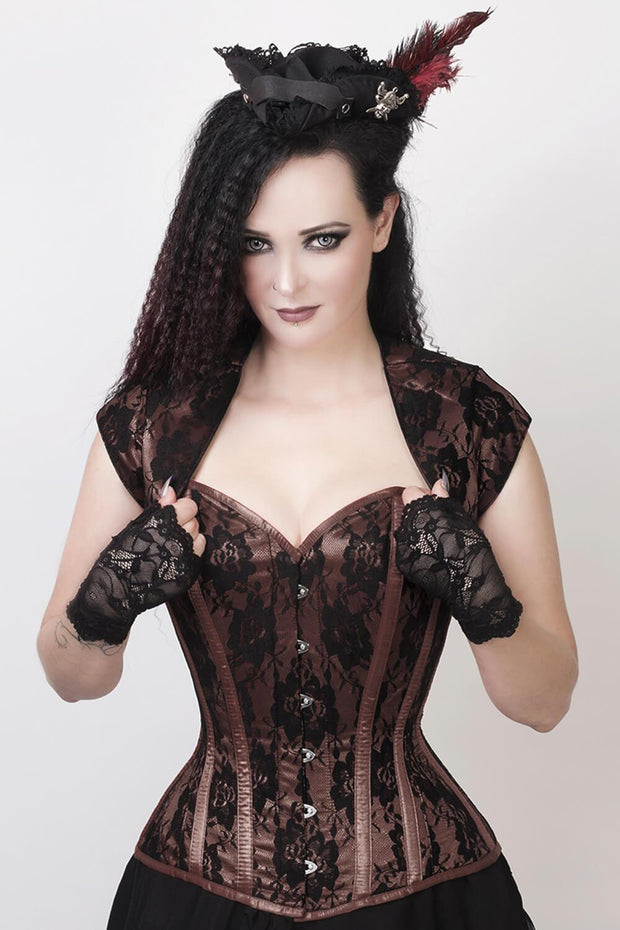 Celeste Custom Made Lace Overlay Corset with Bolero Jacket