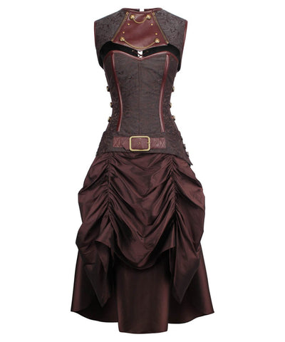 Carley Steampunk Corset Dress with Shrug