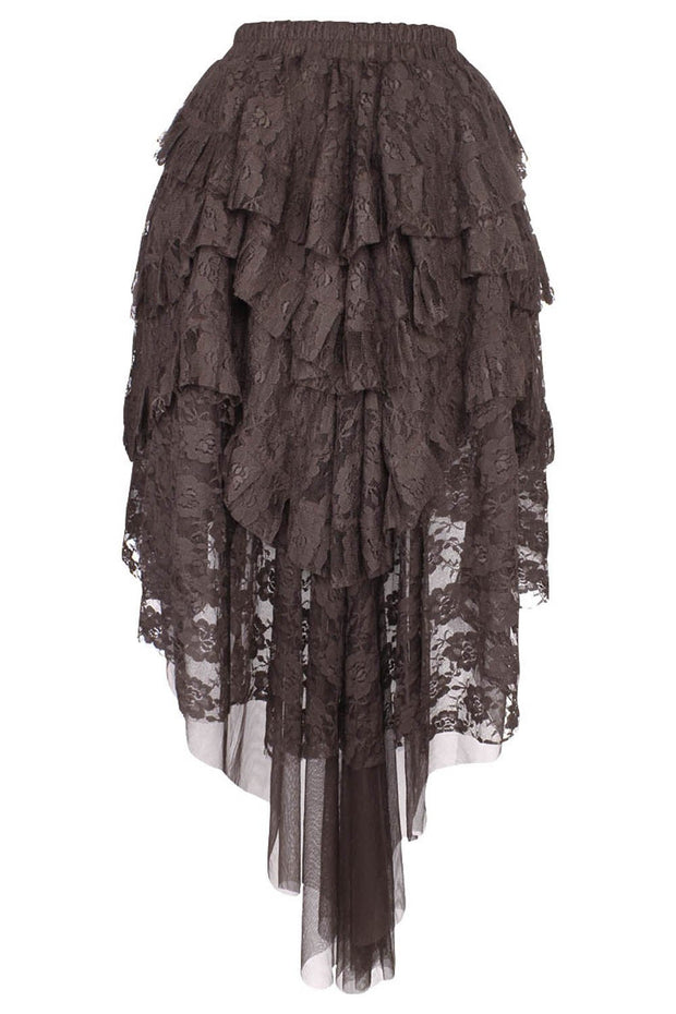 Akamu Brown Burlesque Lace Skirt