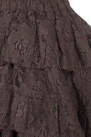 Akamu Custom Made Brown Burlesque Lace Skirt