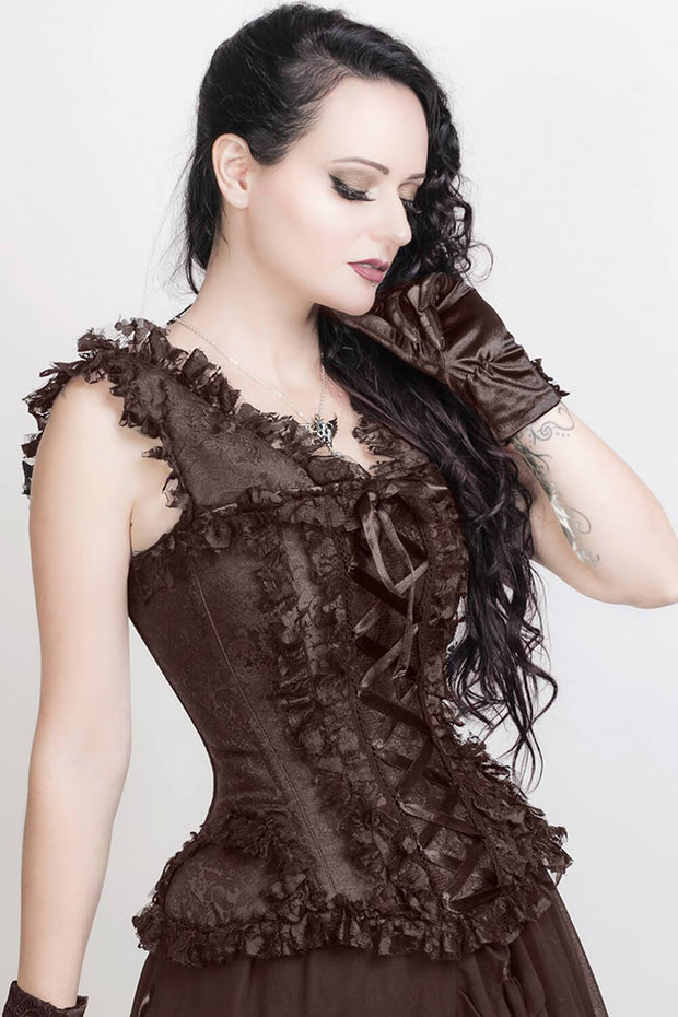 Clarette Victorian Inspired Brown Corset