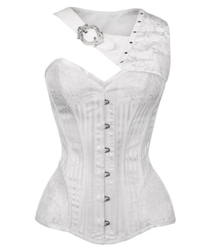 Aike Gothic White Brocade Corset with Bolero