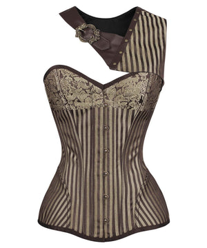 Cecelia Steampunk Gold Brocade Corset with Bolero