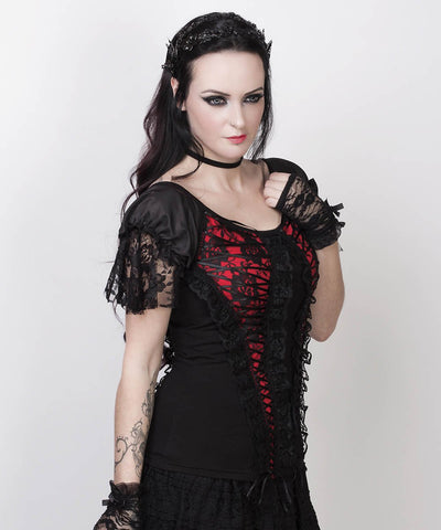 Agnija Red Gothic Broad Neck Lace Overlay Top