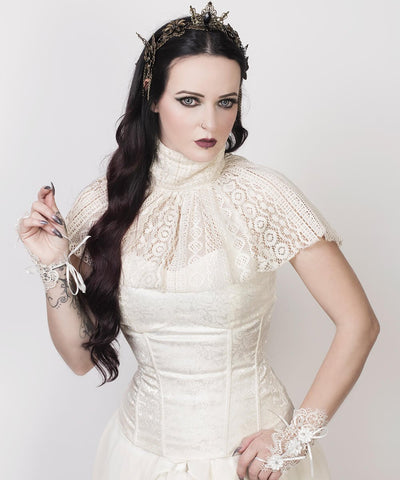 Raakel Victorian High Neck Collar Top with Lace