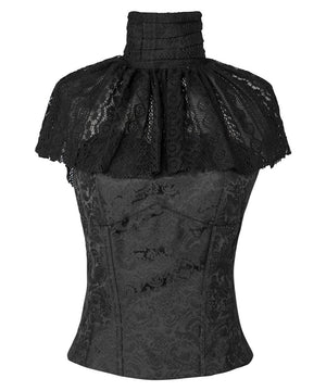 Faddei Black Victorian High Neck Collar Top with Lace