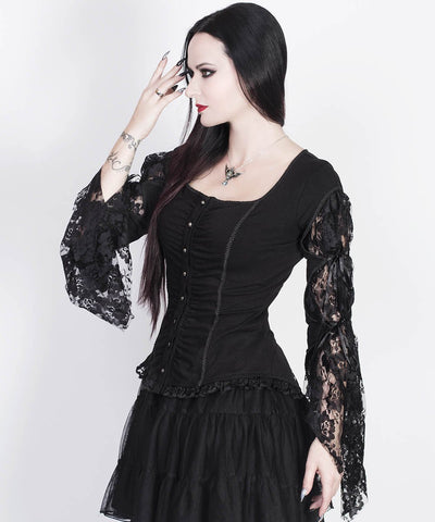 Larkin Black Gothic Top with Long Sleeve