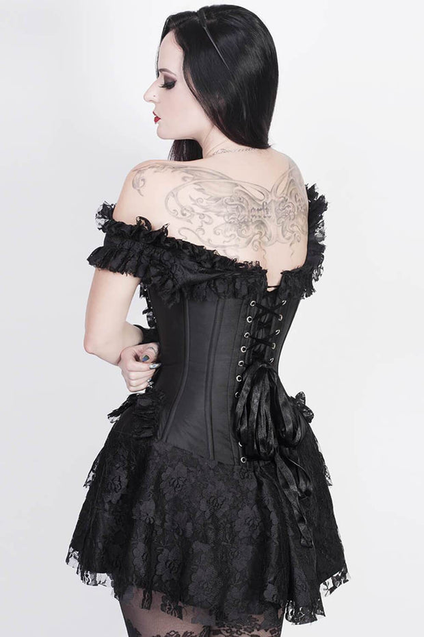 Akilina Custom Made Black Halter Burlesque Corset Dress