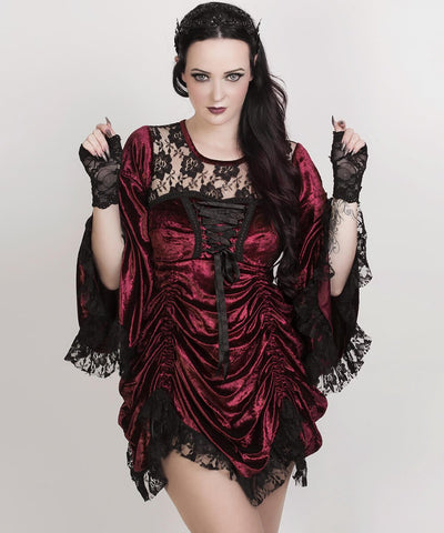 Florina Maroon Gothic Custom Made Dual Top & Dress
