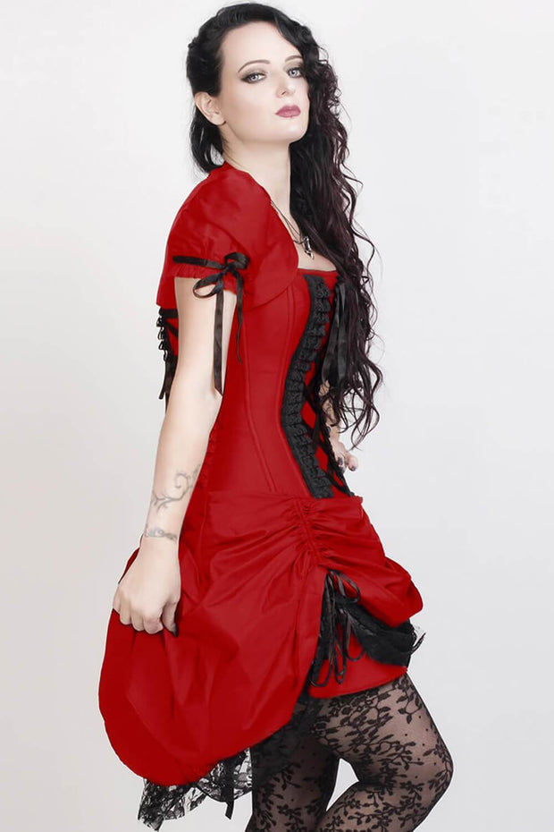 Akuchi Custom Made Victorian Inspired Red Corset Dress with Bolero