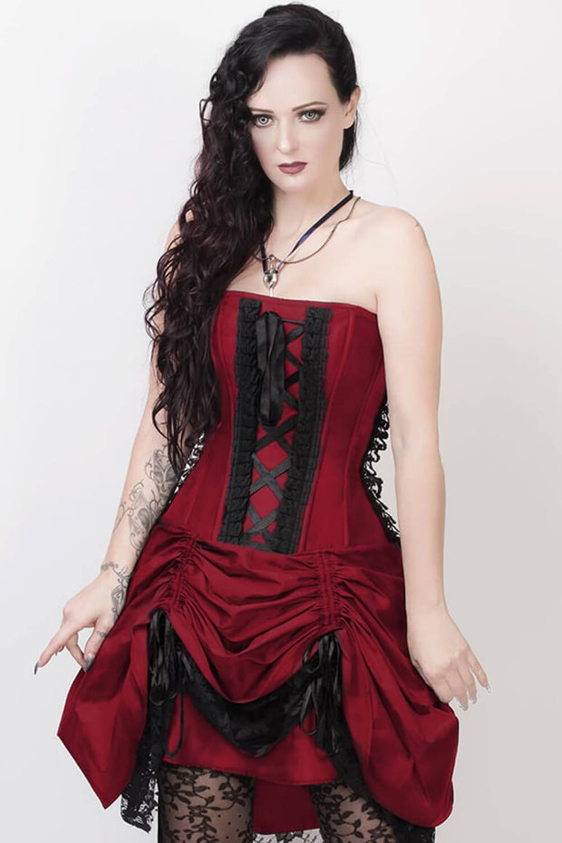 Claudio Custom Made Victorian Inspired Burgundy Corset Dress with Bolero