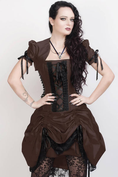 Roswell Custom Made Victorian Inspired Brown Corset Dress with Bolero