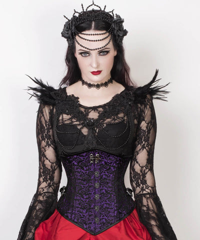 Aetius Gothic Purple Corset with Skull Busk Opening