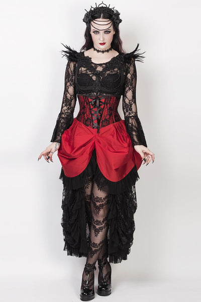 Finnur Custom Made Red Burlesque Underbust Corset Dress