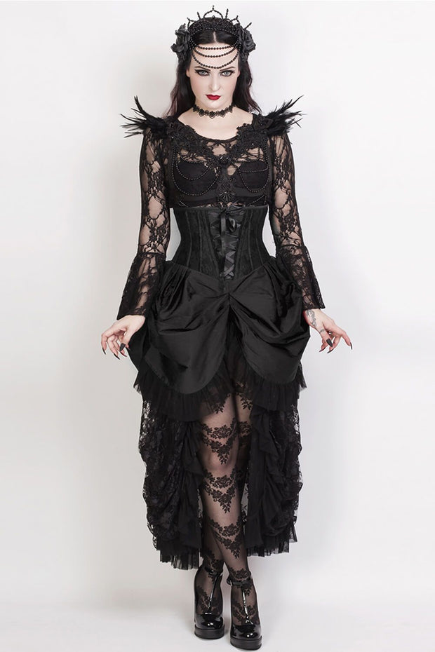 Filippa Custom Made Black Burlesque Underbust Corset Dress