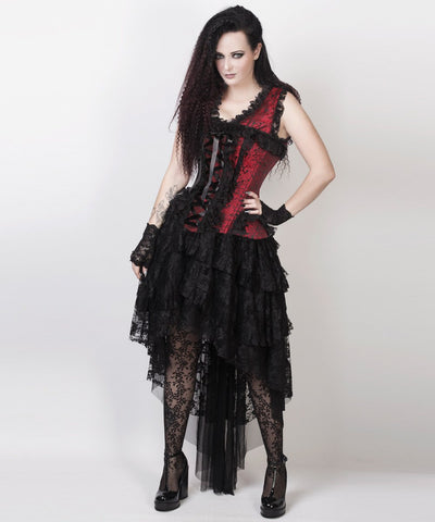 Afolabi Victorian Inspired Custom Made Corset Dress in Maroon and Black