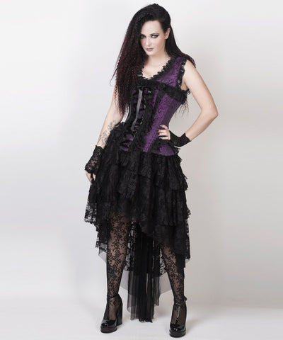 Caelan Victorian Inspired Custom Made Corset Dress in Purple and Black