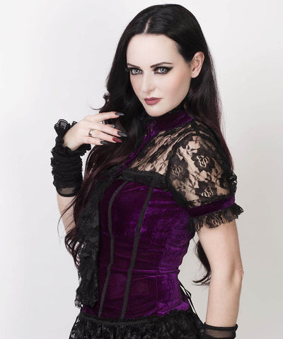 Cicero Gothic Top in Purple Velvet