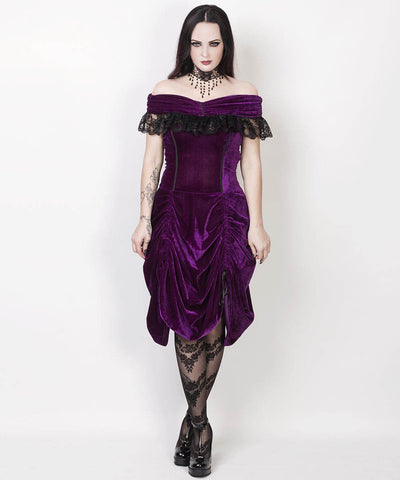 Roberto Burlesque Purple Velvet Off Shoulder Custom Made Dress