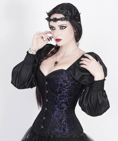 Rosaline Gothic Purple Custom Made Corset with Attached Sleeve