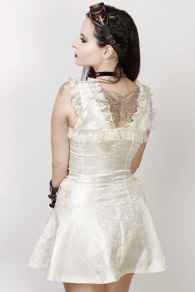 Latonya Halter Burlesque Dress in Ivory Brocade
