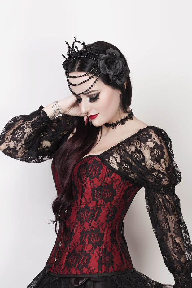 Lempi Lace Overlay Maroon Overbust Corset