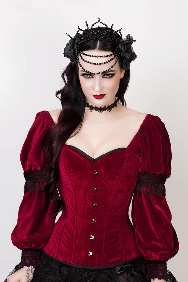 Calvagh Custom Made Gothic Overbust Maroon Corset with Attached Sleeve