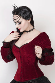 Calvagh Gothic Overbust Maroon Corset with Attached Sleeve