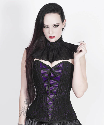 Fidela Purple Overlay Corset with Victorian Lace Choker