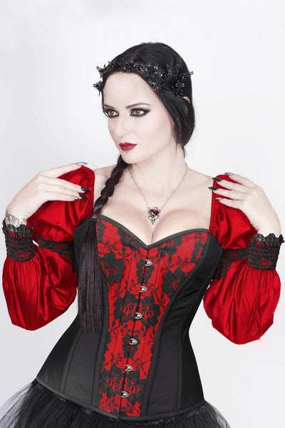 Overbust Custom Made Burlesque Red Corset with Attached Sleeve