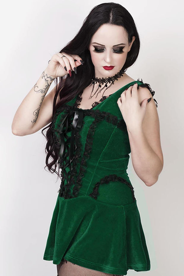 Romane Green Halter Burlesque Dress